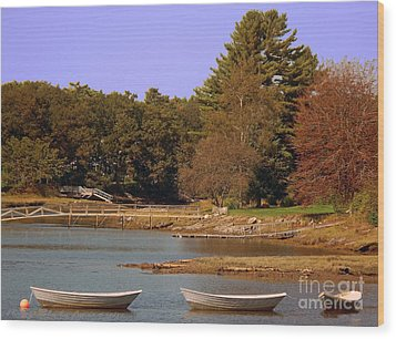 Wood Print featuring the photograph Boats In Kennebunkport by Gena Weiser