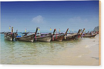Boats In Thailand Wood Print by Zoe Ferrie