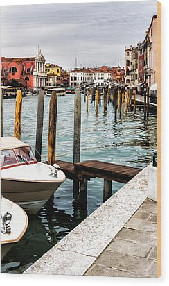 Boats In Venice Wood Print