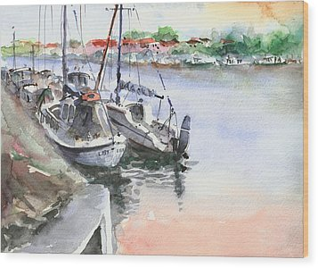 Boats Inshore Wood Print by Faruk Koksal