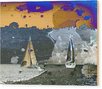 Wood Print featuring the digital art Boats by Irina Hays