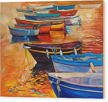 Boats Wood Print by Ivailo Nikolov