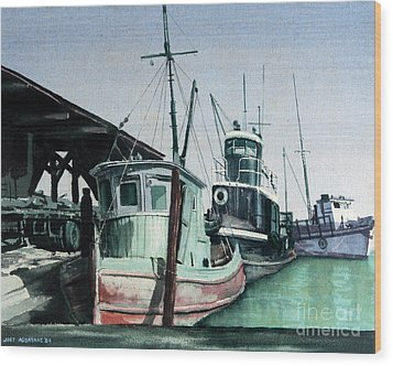 Wood Print featuring the painting Boats by Joey Agbayani