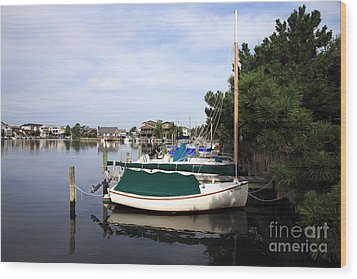 Boats Of Long Beach Island Color Wood Print by John Rizzuto