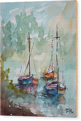 Boats On Lake  Wood Print by Faruk Koksal