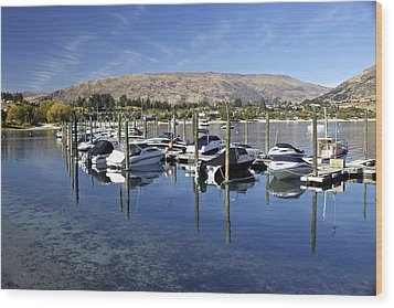 Boats On Lake Wanaka Wood Print by Venetia Featherstone-Witty