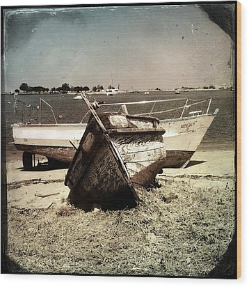 Boats On The Bay Wood Print by Marco Oliveira