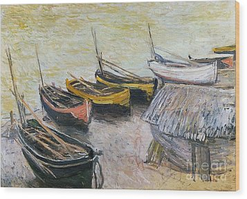 Boats On The Beach Wood Print by Claude Monet