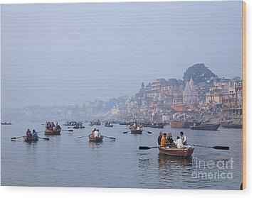 Boats On The River Ganges At Varanasi In India Wood Print by Robert Preston