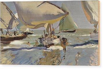 Boats On The Shore Wood Print by Joaquin Sorolla y Bastida