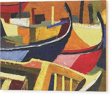 Boatyard Wood Print by Ahmed Amir