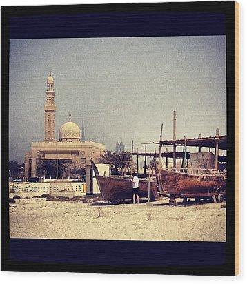 Boatyard Dubai Wood Print by Maeve O Connell