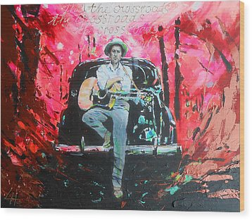 Bob Dylan - Crossroads Wood Print by Lucia Hoogervorst