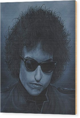 Wood Print featuring the painting Bob Dylan Iv by David Dunne