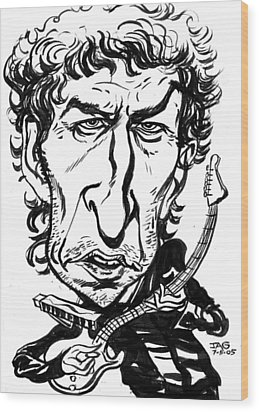 Bob Dylan Wood Print by John Ashton Golden