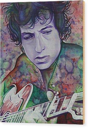 Bob Dylan-pink And Green Wood Print by Joshua Morton