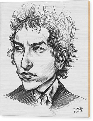 Bob Dylan Sketch Portrait Wood Print by John Ashton Golden