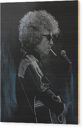 Bob Dylan 'tangled Up In Blue' Wood Print by David Dunne