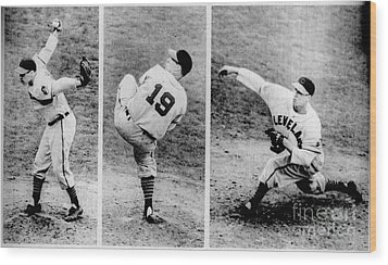 Bob Feller Pitching Wood Print