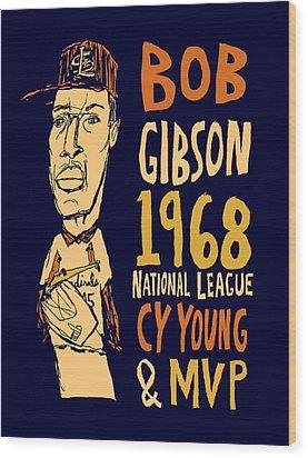 Bob Gibson St Louis Cardinals Wood Print by Jay Perkins