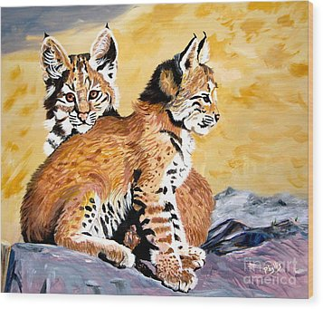 Wood Print featuring the painting Bob Kittens by Phyllis Kaltenbach