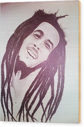 Bob Marley Wood Print by Aileen Carruthers
