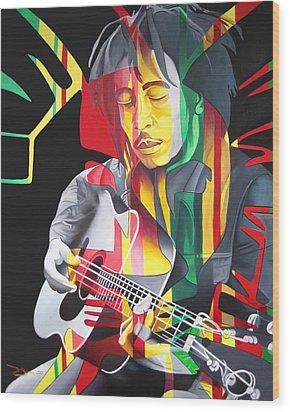 Bob Marley And Rasta Lion Wood Print by Joshua Morton