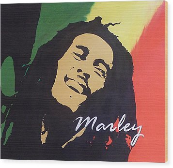 Wood Print featuring the painting Bob Marley by Cherise Foster