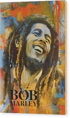 Bob Marley Wood Print by Corporate Art Task Force