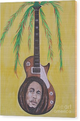 Wood Print featuring the painting Bob Marley by Jeepee Aero