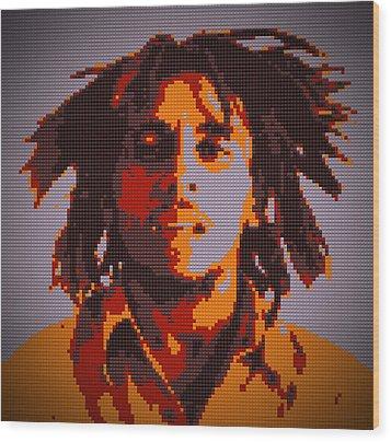 Bob Marley Lego Pop Art Digital Painting Wood Print by Georgeta Blanaru