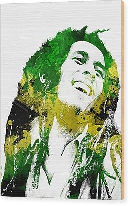 Bob Marley Wood Print by Mike Maher