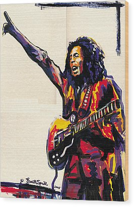 Bob Marley - One Love Wood Print by Everett Spruill