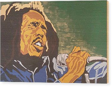 Wood Print featuring the painting Bob Marley by Rachel Natalie Rawlins