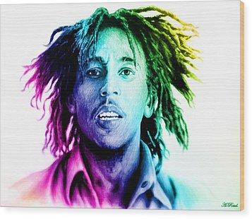 Bob Marley  Rainbow Effect Wood Print by Andrew Read