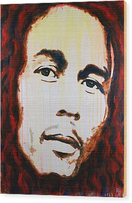 Wood Print featuring the painting Bob Marley Reggae Icon by Bob Baker