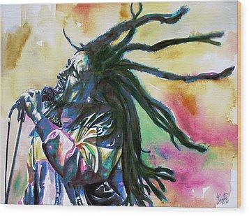 Bob Marley Singing Portrait.1 Wood Print by Fabrizio Cassetta