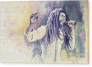Bob Marley Wood Print by Yuriy  Shevchuk