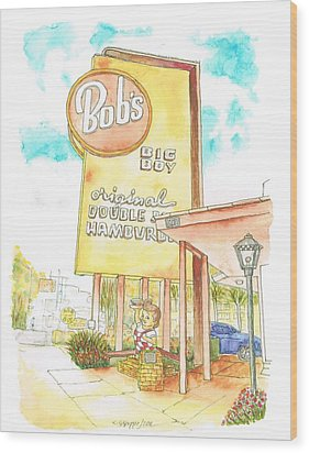 Bob's Big Boy In Burbank, California Wood Print by Carlos G Groppa