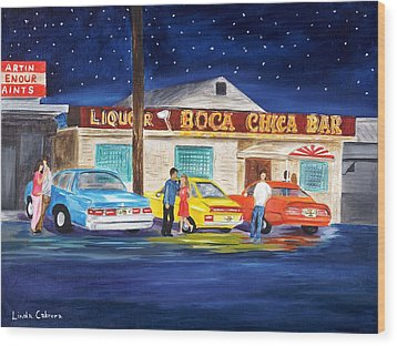 Boca Chica Bar Wood Print by Linda Cabrera