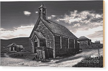 Bodie Ghost Town - Spooky Church Wood Print by Gregory Dyer