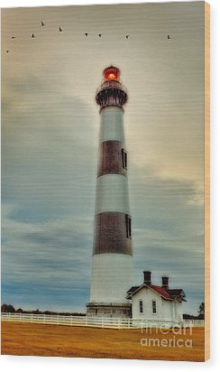 Bodie Lighthouse Outer Banks Abstract Painting Wood Print by Dan Carmichael