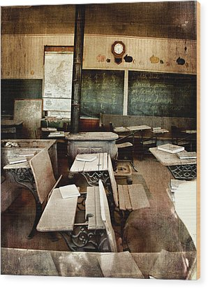 Wood Print featuring the photograph Bodie School Room by Lana Trussell