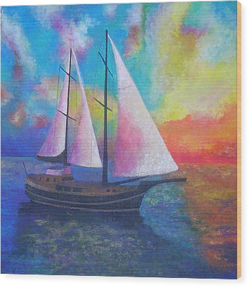 Wood Print featuring the painting Bodrum Gulet Cruise by Tracey Harrington-Simpson