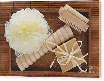 Body Care Accessories In Wood Tray Wood Print by Olivier Le Queinec