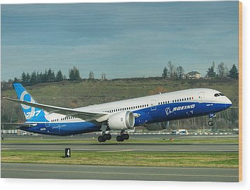 Boeing 787-9 Gets Airborne Wood Print