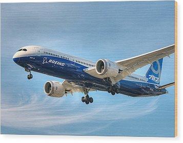 Boeing 787-9 Wispy Wood Print by Jeff Cook