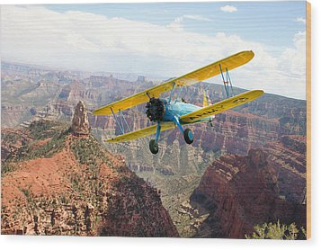 Boeing Stearman At Mount Hayden Grand Canyon Wood Print by Gary Eason