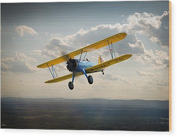 Boeing Stearman Trainer In Flight  Wood Print by Gary Eason
