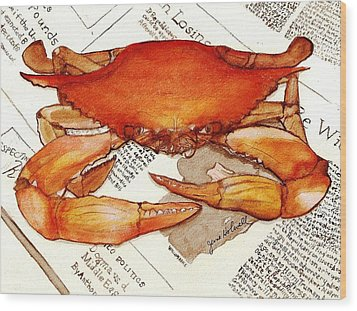 Boiled Crab Wood Print by June Holwell
